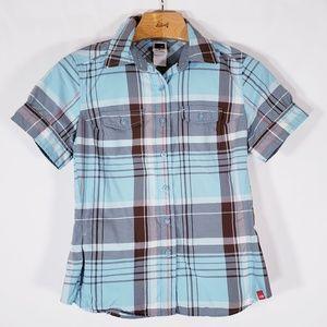 North Face Hiking Shirt Button Womens S Plaid